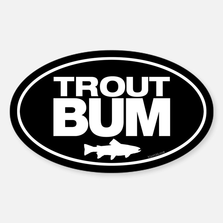 Trout Bum Oval Sticker Decal