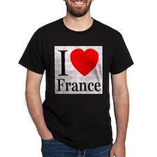 I Love France Black T-Shirt