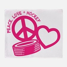 Peace, Love & Hockey Throw Blanket