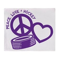 Peace, Love & Hockey Throw Blanket