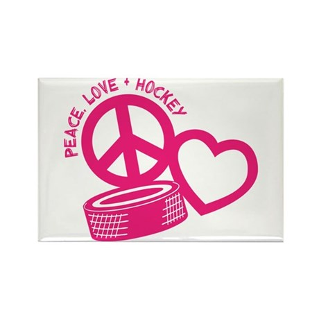 Peace, Love & Hockey Rectangle Magnet