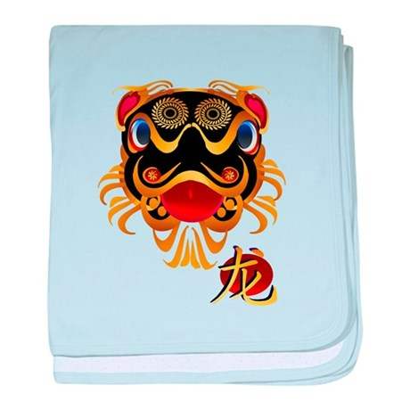 Black and Gold Chinese Dragon and Symbol baby blan