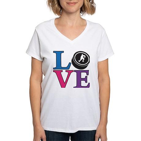 Hockey LOVE Women's V-Neck T-Shirt
