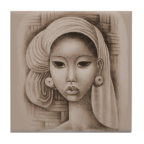 Miguel Covarrubias Bali Woman Art Tile Coaster