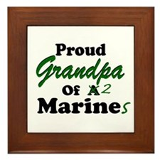 Proud Grandpa 2 Marines Framed Tile