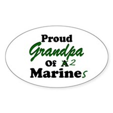 Proud Grandpa 2 Marines Oval Decal