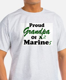 Proud Grandpa 2 Marines Ash Grey T-Shirt