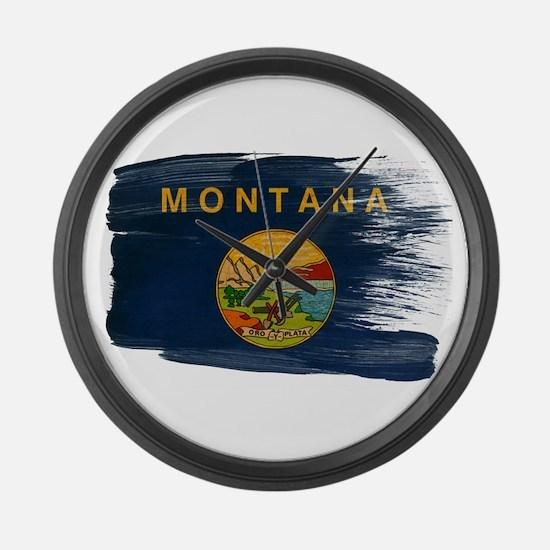 Montana Flag Large Wall Clock