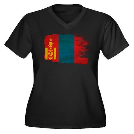 Mongolia Flag Women's Plus Size V-Neck Dark T-Shir