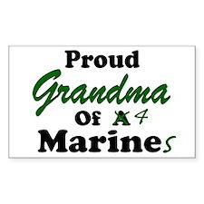 Proud Grandma 4 Marines Rectangle Decal