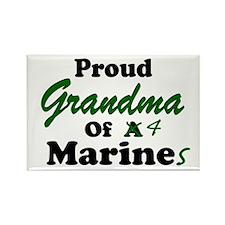 Proud Grandma 4 Marines Rectangle Magnet
