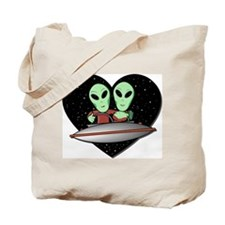 Aliens In Love Tote Bag