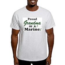 Proud Grandma 3 Marines Ash Grey T-Shirt