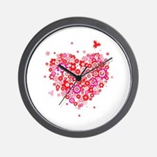 Cute Valentines Day Flowers and Roses Wall Clock