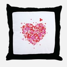 Cute Valentines Day Flowers and Roses Throw Pillow