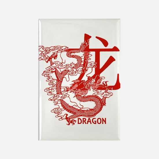 Red Year Of The Dragon Rectangle Magnet