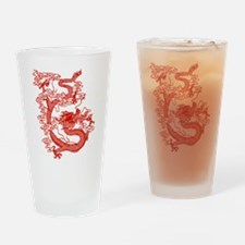 Red Chinese Dragon Drinking Glass