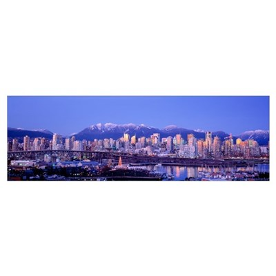 Twilight, Vancouver Skyline, British Columbia, Can Poster