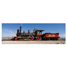 Train engine on a railroad track, Locomotive 119, Poster