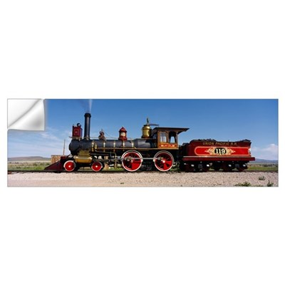 Train engine on a railroad track, Locomotive 119, Wall Decal