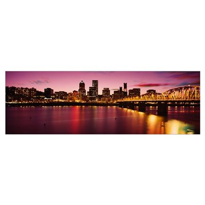 Skyscrapers lit up at sunset, Willamette River, Po Poster
