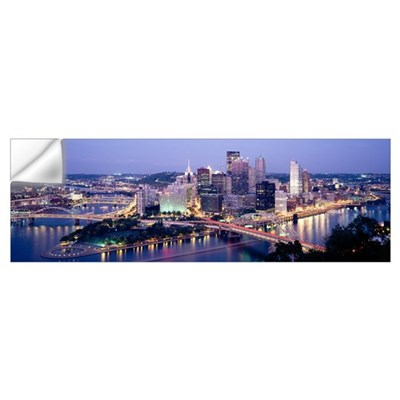 Buildings in a city lit up at dusk, Pittsburgh, Al Wall Decal