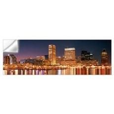 Buildings lit up at dusk, Baltimore, Maryland Wall Decal