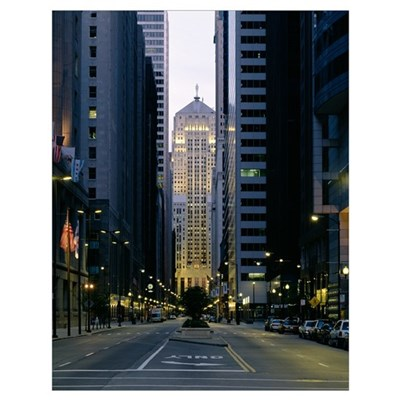 Buildings in a city, LaSalle Street, Chicago Board Poster