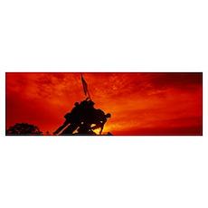 Silhouette of statues at a war memorial, Iwo Jima  Poster