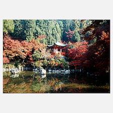 Temple behind a pond, Daigo-Ji Temple, Kyoto City,