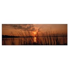Sunset over a lake, Lake Travis, Austin, Texas Poster