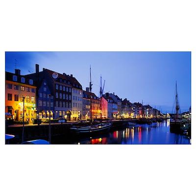 Buildings lit up at night, Nyhavn, Copenhagen, Den Poster