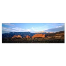 Rock formations on a landscape, Garden Of The Gods Poster