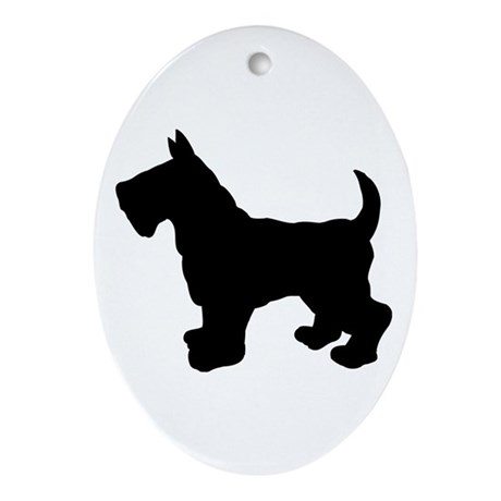 Scottish Terrier Silhouette Ornament (Oval)