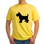 Scottish Terrier Silhouette Yellow T-Shirt