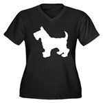 Scottish Terrier Silhouette Women's Plus Size V-Ne