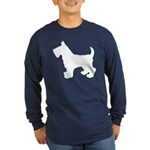 Scottish Terrier Silhouette Long Sleeve Dark T-Shi