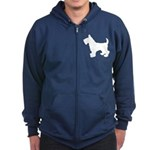 Scottish Terrier Silhouette Zip Hoodie (dark)