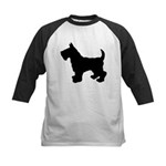 Scottish Terrier Silhouette Kids Baseball Jersey