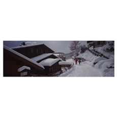 High angle view of two people walking in snow, Mur Poster