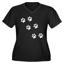 Walking Pawprints Women's Plus Size V-Neck Dark T-