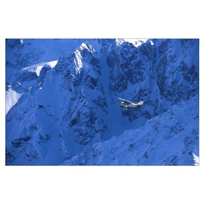Small Plane Flying Above Chugach Mountains, Southc Poster