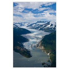 Aerial view of Mendenhall Glacier, Juneau Icefield Poster