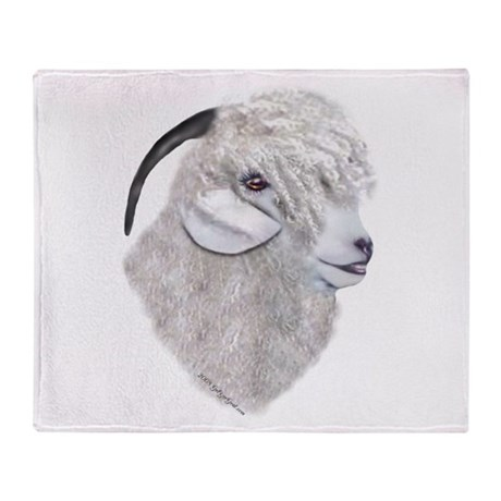 Angora Goat Portrait Throw Blanket