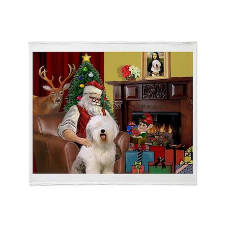 Santa's Old English #6 Throw Blanket