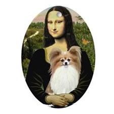 Mona & her Fawn Papillon Ornament (Oval)