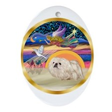XmasStar/Pekingese (w) Ornament (Oval)