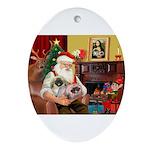 Santa's 2 Pekingese Ornament (Oval)