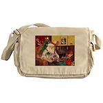Santa's 2 Pekingese Messenger Bag