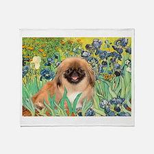 Irises / Pekingese (#1) Throw Blanket